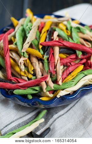 Best italian food - home-made multicolored pasta from Salerno uncooked
