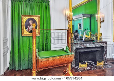Fontainebleau, France - July 09, 2016 : Fontainebleau Palace Interiors. French Childhood Of The King