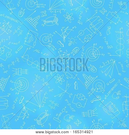 Seamless pattern with formulasgraphs and equipment as the subject of physicslight marker on blue background