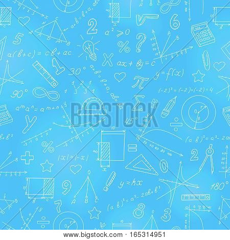 Seamless background with formulas and charts on the topic of mathematics and education light marker on blue background