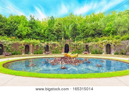 Versailles, France - July 02, 2016 : Escalade Fountain In A Beautiful Park In Europe - Versailles. F