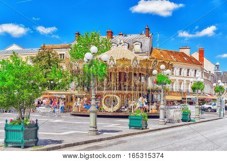 Fontainebleau, France - July 09, 2016 : Suburbs Of Paris - City Fontainebleau,where Is Residence Of