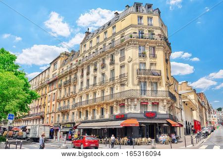 Paris, France - July 04, 2016 : City Views Of Paris, Street, Buildings, People, Tourists. Bohemian M