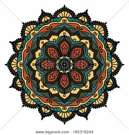 Colored mandala on the white background Vector