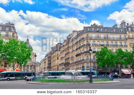 Paris, France - July 08, 2016 : Fontaine Rostand Near Luxembourg Palase And Street View With People