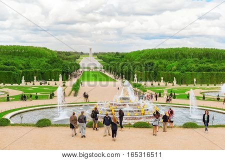 Versailles, France - July 02, 2016 :  Tourists Near Latona Fountain Pool, Opposite The Main Building