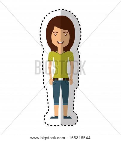young woman casual style vector illustration design