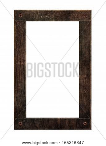 Vertical wooden frame with rusty nails, isolated on white backgrounds