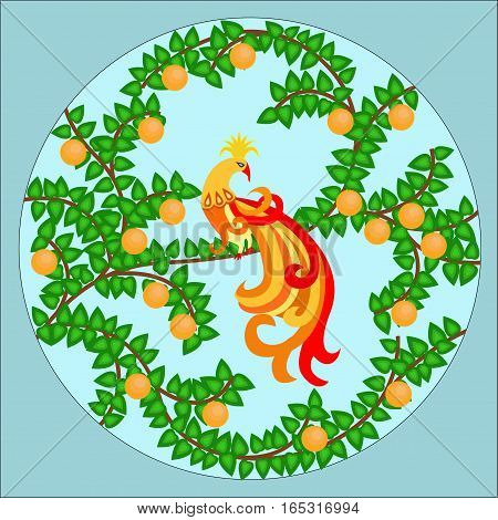 Phoenix bird on a tree in green leaves and oranges