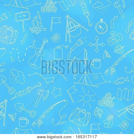 Seamless background with simple hand-drawn icons on the theme of camping and traveling light marker on blue background