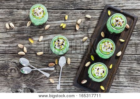 Delicious Pistachio Cheese Mousse Topped With Whipped Cream