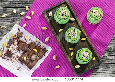 Pistachio Cheesecake Mousse Dessert Topped With Whipped Cream