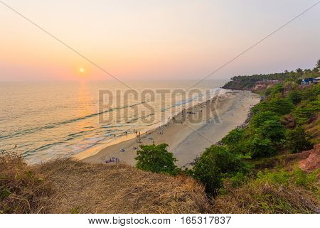 Varkala Beach Cliffs Ocean Sunset Horizon H