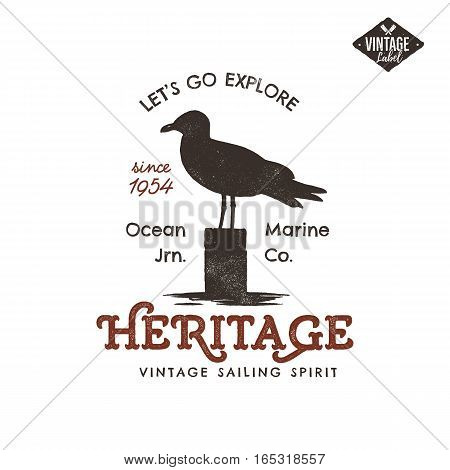 Vintage hand drawn label design. Seagull symbol. Letterpress effect. Typography insignia, t-shirt apparel. Retro old style artwork. Vector.