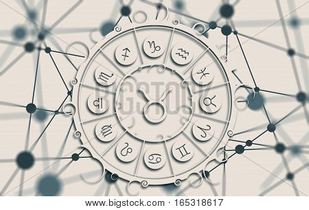 Astrological symbols in the circle. Molecule And Communication Background. Connected lines with dots. White circle with shadows. Shallow depth of field. Taurus sign