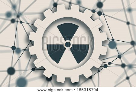 Nuclear danger sign. Molecule And Communication Background. Connected lines with dots. White gear with shadows. Shallow depth of field