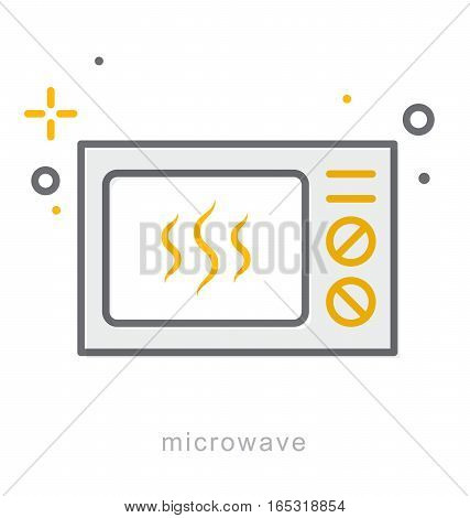 Thin line icons, Linear symbols, Microwave icon