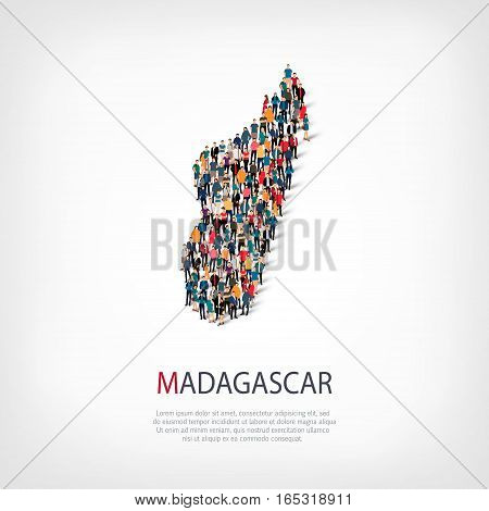Isometric set of styles, people, map of Madagascar , country, web infographics concept of crowded space, flat 3d. Crowd point group forming a predetermined shape. Creative people. Vector illustration. Photo vector.3D illustration. White background . Isola