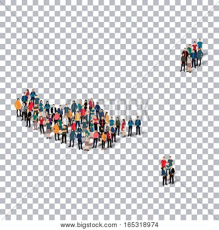 Isometric set of styles, people, map of Madeira , country, web infographics concept of crowded space, flat 3d. Crowd point group forming a predetermined shape. Creative people. Vector illustration. Photo vector.3D illustration. Transparent background . Is