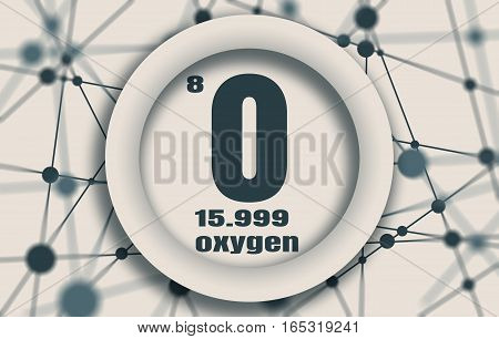 Oxygen chemical element. Sign with atomic number and atomic weight. Chemical element of periodic table. Molecule And Communication Background. Connected lines with dots.