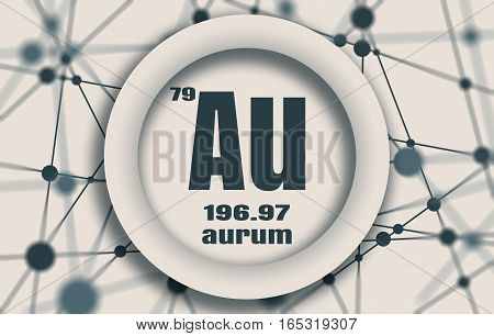 Aurum chemical element. Gold metal sign with atomic number and atomic weight. Chemical element of periodic table. Molecule And Communication Background. Connected lines with dots.
