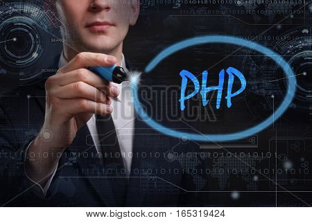 Business, Technology, Internet And Network Concept. Young Business Man Writing Word: Php