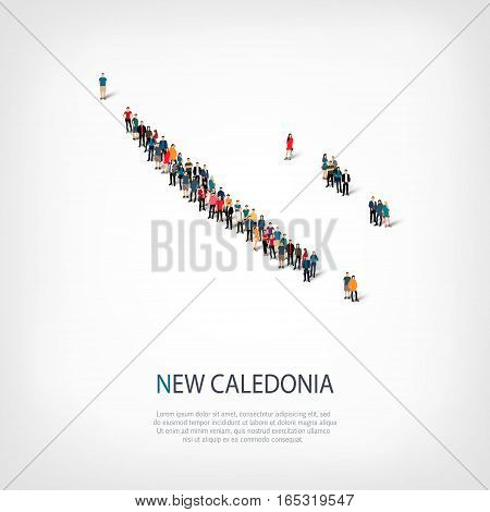 Isometric set of styles, people, map of New Caledonia , country, web infographics concept of crowded space, flat 3d. Crowd point group forming a predetermined shape. Creative people. Vector illustration. Photo vector.3D illustration. White background . Is