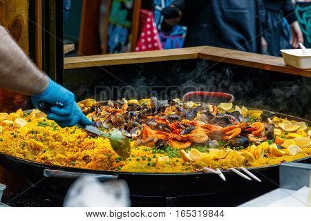 Seafood Paella On Display