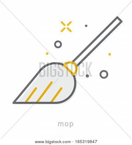Thin line icons, Linear symbols, Mop icon