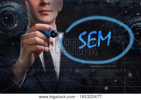 Business, Technology, Internet And Network Concept. Young Business Man Writing Word: Sem