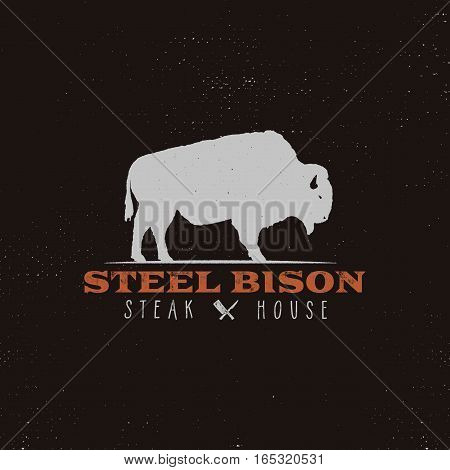 Steak House vintage Label. Typography letterpress design. Vector retro logo. Included bbq grill symbols for customizing badge. Retro colors insignia isolate on retro background.