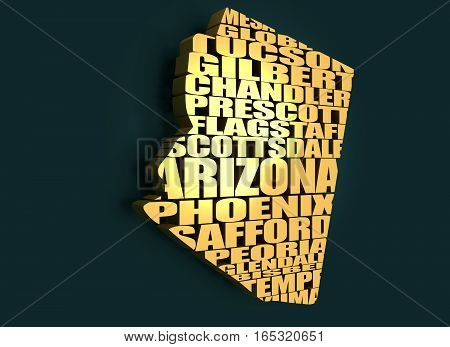 Word cloud map of Arizona state. Cities list collage. Golden material. 3D rendering