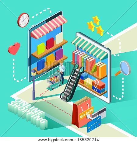 Online shopping for shoes clothing books and food isometric ecommerce site design advertisement poster abstract vector illustration