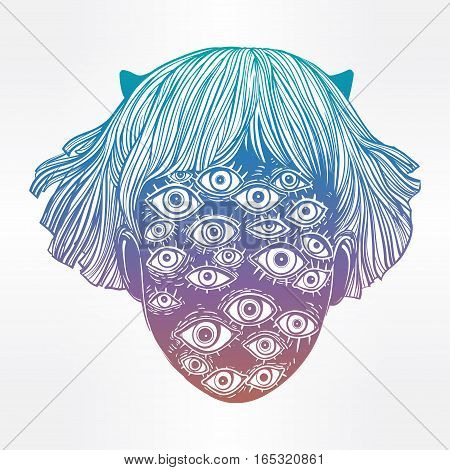 Portrait of a weird supernatural creature with surreal face. Graphic drawing in Noir retro style with many eyes head. Character design, surrealism, sci-fi, tattoo art. Isolated vector illustration.