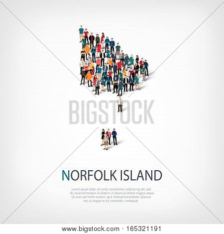 Isometric set of styles, people, map of Norfolk Island, country, web infographics concept of crowded space, flat 3d. Crowd point group forming a predetermined shape. Creative people. Vector illustration. Photo vector.3D illustration. White background . Is