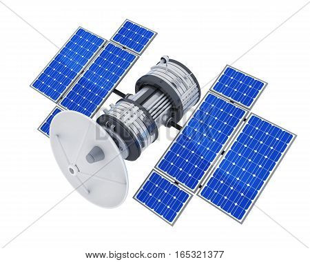 Telecommunication space satellite on white background (3d illustration isolated)