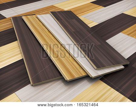 Wooden laminated sheet advertising CGI. 3d illustration