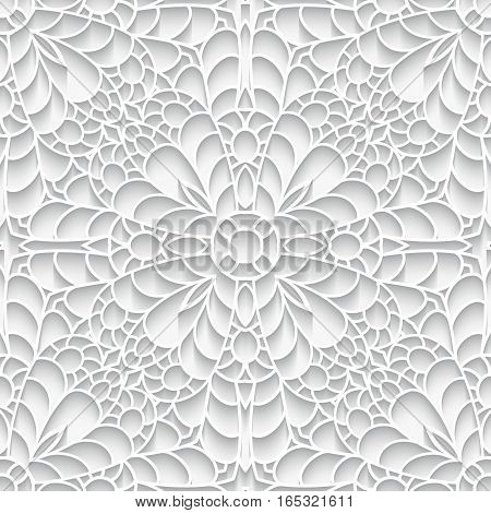 Cutout paper lace texture, seamless pattern in neutral color
