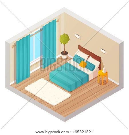Isometric domestic bedroom interior design composition with cartoon style colorful decorations for home and hotel environment vector illustration