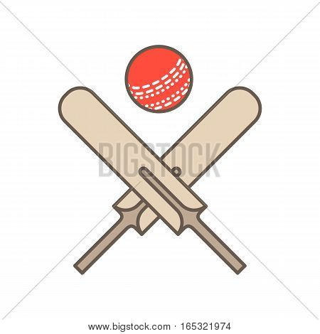Cricket vector line icon. Bats and ball logo, equipment sign. Sport competition illustration.
