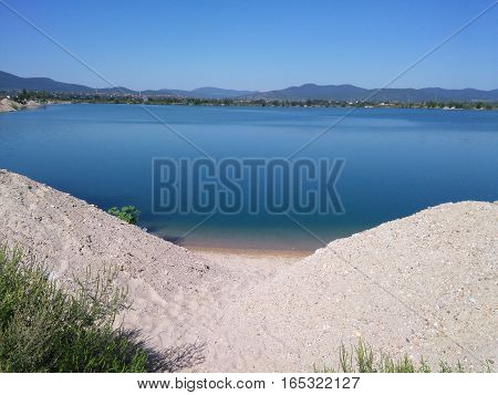 Beautiful mine lake during the summer in Hungary