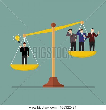 Businessman has an idea on scales. Value of idea