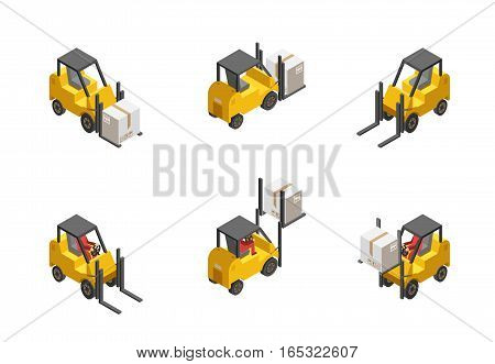Yellow forklift truck with box set isolated on white background isometric vector illustration