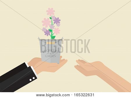 Man giving flowers to a woman. Vector illustration