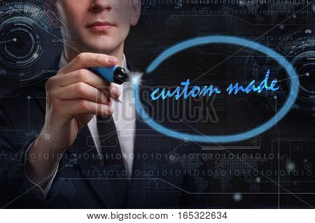 Business, Technology, Internet And Network Concept. Young Business Man Writing Word: Custom Made