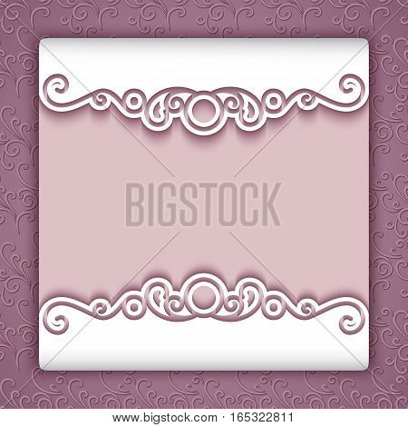 Elegant cutout paper frame with lace border ornament, greeting card or invitation template