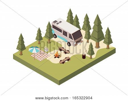 Campsite in forest isometric design with bonfire benches picnic blanket and umbrella log with axe vector illustration