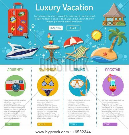 Vacation and Tourism infographics with Flat Icons like Boat, Island, Cocktail and suitcase. vector illustration
