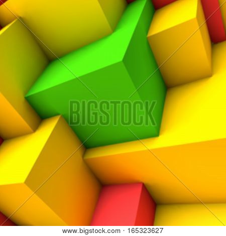 Abstract background with overlapping bright colorful cubes