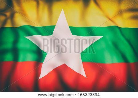 Republic Of The Union Of Myanmar Flag Waving